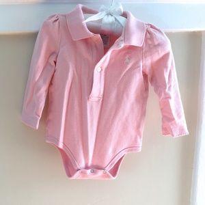  Ralph Lauren Long-Sleeve Pink Bodysuit 9 Months